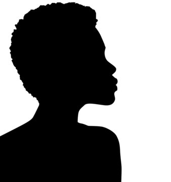 African American female, African profile picture, silhouette. From the side with short hair