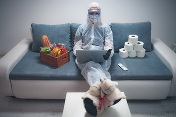 Quarantine and isolation during the virus outbreak - groceries and food in stock, working from home...