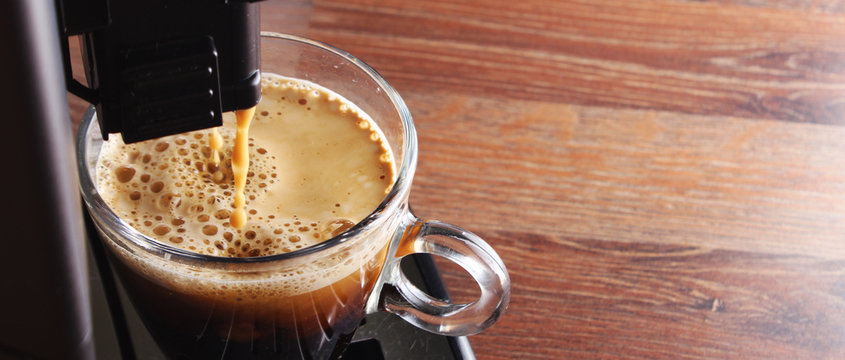 coffee glass espresso coffee machinewooden background