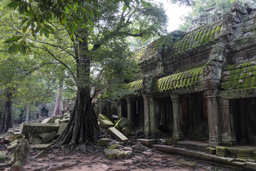 Foto op Canvas Historisch mon. Scenic landscape of destroyed religious Hindu temple of Angkor Wat in Cambodia