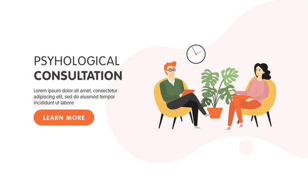 Psychotherapy counseling landing page design. Psychologist man and young girl patient in therapy session. Mental health, depression. Vector flat cartoon illustration.