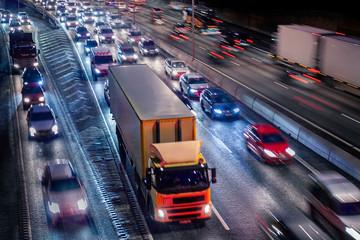 Stockholm city at night, Highway Traffic