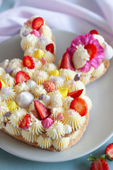 Bunny shaped tart for Easter with fresh strawberry