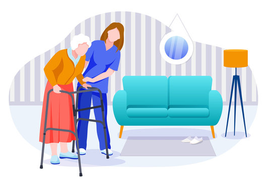 Home care services for seniors. Nurse or volunteer worker taking care of elderly woman. Vector characters illustration