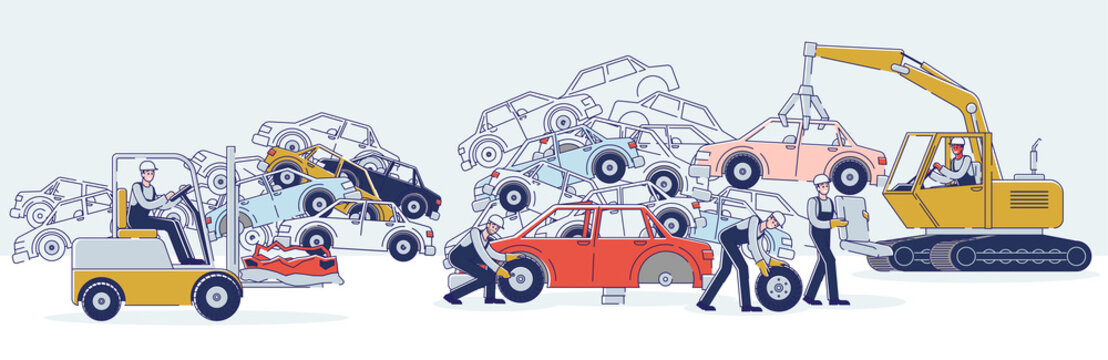 Concept Of Utilization Of Vehicles. Characters Work On Junkyard Sorting Old Used Automobiles And Piles Of Damaged Cars. Characters Dismantling Cars. Cartoon Linear Outline Flat Vector Illustration
