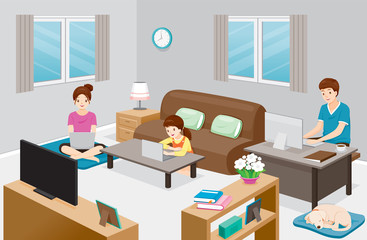 Work From Home, Learn From Home, Shopping At Home, Everyone In Family Stay At Home, Protection Themselves From Coronavirus Disease, Covid-19 Wall mural