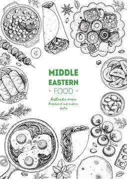 Middle eastern food top view frame. Food menu design with kebab, dolma, hummus, shakshouka and sweets. Vintage hand drawn sketch vector illustration.