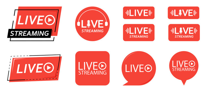 Set of live streaming icons. Red symbols and buttons of live streaming, broadcasting, online stream. third template for tv, shows, movies and live performances. Vector illustration.