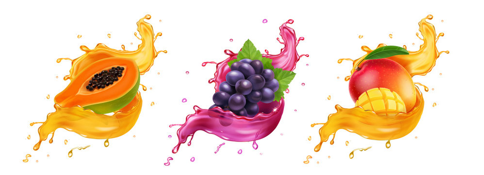 Fruits in splash of juice. Mango, grapes, papaya realistic vector set