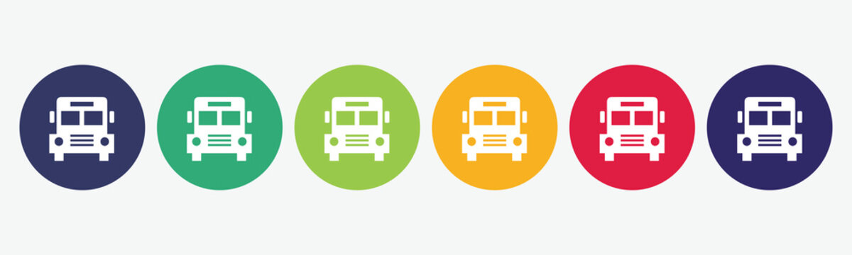 6 circles set in various colors with school bus icon.