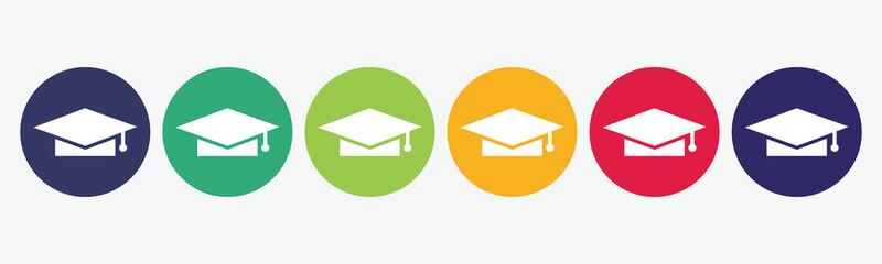Big set of graduation hat icon isolated on white background.