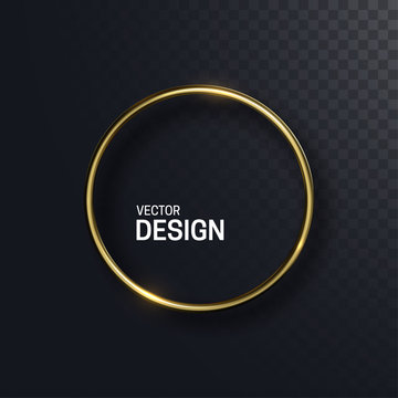 Abstract golden circle shape. Vector 3d illustration. Shiny elegant ring isolated on black transparent background. Jewelry concept. Glossy frame design. Realistic metallic object. Decoration element