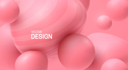 Soft pink spheres. Bubble gum smooth shapes backdrop. Vector 3d illustration. Abstract sweet background. Minimal poster design. Dynamic particles. Colorful bubbles. Fashion banner template