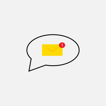 Sms message.Letter icon.One message illustration.Postage, mail .