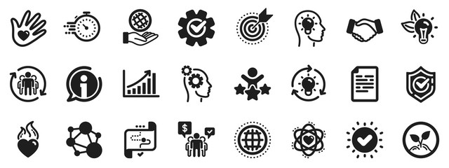 Integrity, Target purpose and Strategy. Core values icons. Trust handshake, social responsibility, commitment goal icons. Growth chart, innovation, core values network. Vector