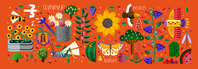 Summer time! Vector cute illustration of potted flower, sunflower, chamomile, watering can, abstract bird, bee, butterfly, fruit, trees, plants, isolated objects. Drawings for card, poster or postcard