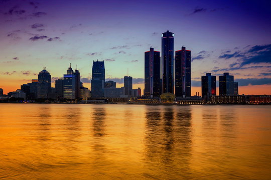 Detroit Skyline, the view from Windsor, Ontario, Canada.