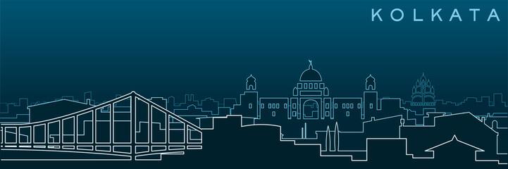 Kolkata Multiple Lines Skyline and Landmarks Papier Peint