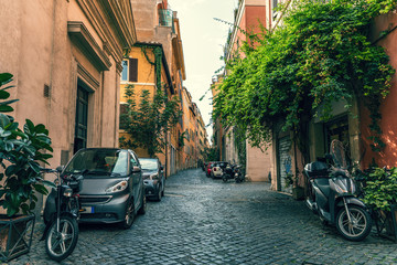 Canvas Prints Narrow alley Empty street without people in Rome downtown, Coronavirus outbreak in Italy.