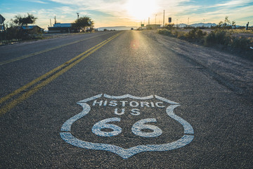 Fotobehang Route 66 Historic US Route 66 highway sign on asphalt