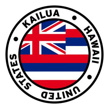 Round Kailua Hawaii United States Flag Clipart