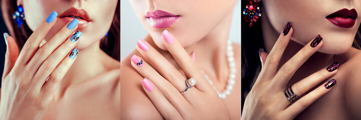 Nail art design. Three looks of woman with perfect make-up and manicure. Fashionable jewellery. Beauty portraits Wall mural