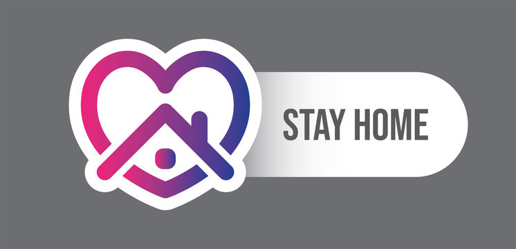 Stay at home symbol. Heart and house pictogram for #stayhome social media campaign. Self isolation emblem for quarantine times.