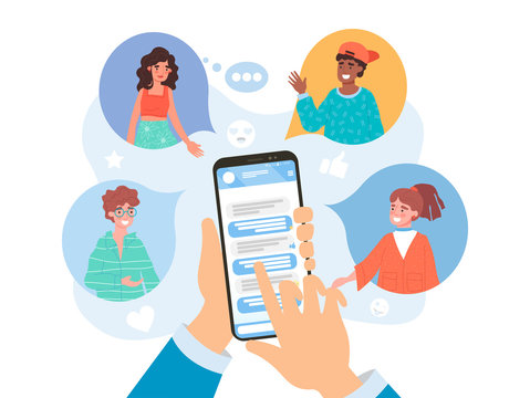Refer a friend concept on social media with a businessman using a mobile phone app to refer a diverse selection of his friends in colored speech bubbles, vector illustration