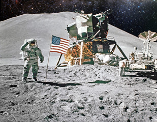 Papiers peints Nasa Astronaut on lunar (moon) landing mission. Elements of this image furnished by NASA.