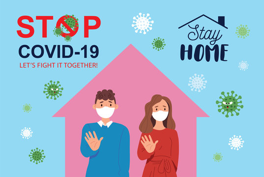 Coronavirus Covid-19  quarantine campaign of stay at home concept. Family in medical face mask to reduce risk of infection & spreading the virus. Vector illustration.