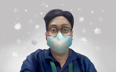 Digital illustration painting design style a man wearing surgical masks to prevent disease, flu, air pollution, contaminated air, world pollution.