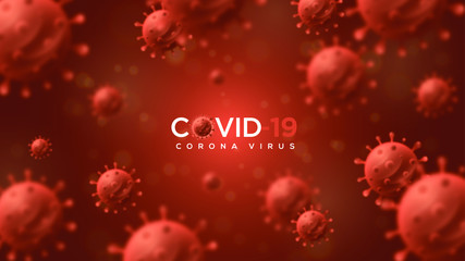 Corona virus Background with illustrations of red blurred bacteria. Wall mural