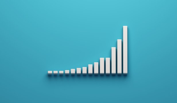 Data Growth number of total cases graph. 3D Render illustration