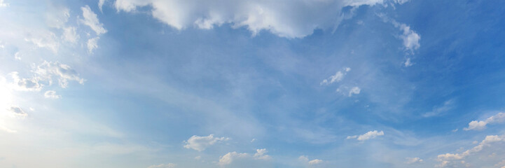 Panorama sky with cloud on a sunny day. Beautiful cirrus cloud. Panoramic image. Wall mural