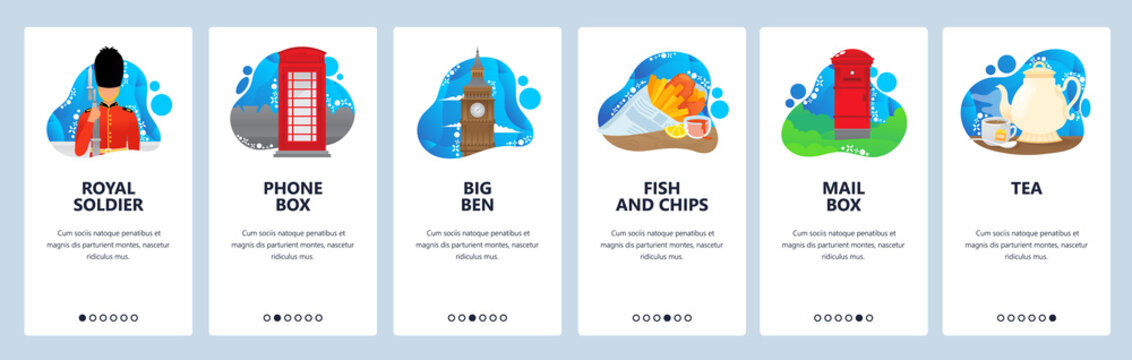 England website and mobile app onboarding screens vector template