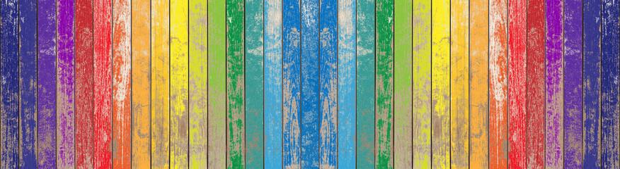 palissade bois arc-en-ciel vintage
