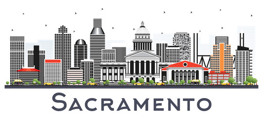 Wall Mural - Sacramento California City Skyline with Gray Buildings Isolated on White.