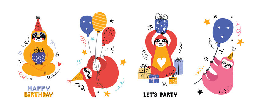Cute kawaii sloth at a party. Cartoon bear with gifts and other holiday items. Holiday lettering. Greeting card or banner for a birthday Christmas or New year. Scandinavian flat vector illustration.