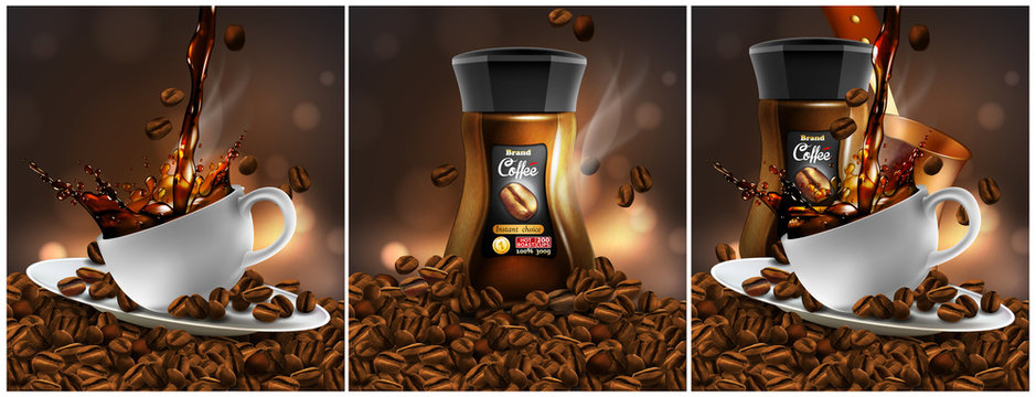 Coffee  advertising design. Coffee cup, pot and coffee beans on a  transparent background.  3D vector. High detailed realistic illustration