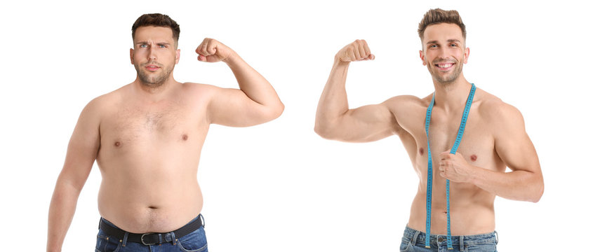 Young man before and after weight loss on white background
