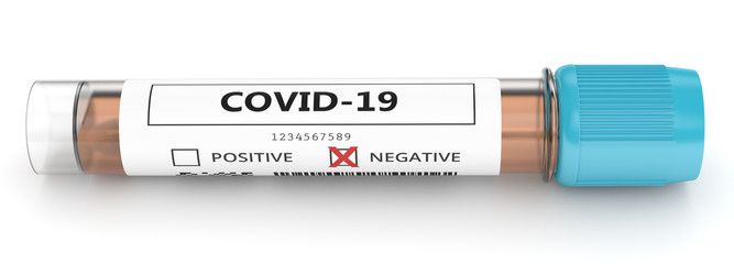 3d render of covid-19 negative nasal swab laboratory test