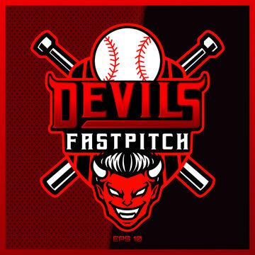 Baseball esport and sport mascot logo design with modern illustration concept style for team, badge, emblem and thirst printing.Baseball illustration sport on dark Red Background. Vector illustration