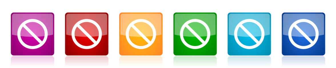 Access denied icon set, colorful square glossy vector illustrations in 6 options for web design and mobile applications
