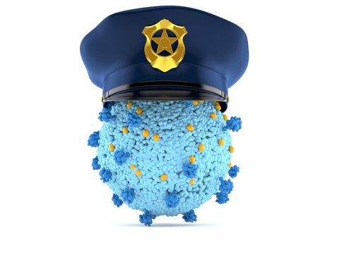 Virus with police hat