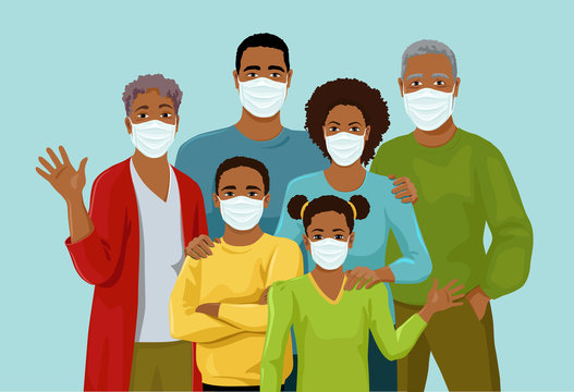 Big African American  family together is wearing medicine masks. Quarantine. Preventive protective measures against the spread of the virus. Isolated vector illustration.