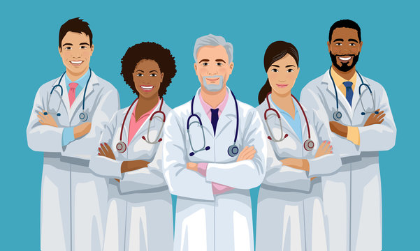 Group of confident doctors of varied nationalities are standing with crossed arms. Medical team. Hospital staff. European, Asian and African American medicine workers. Isolated vector illustration.