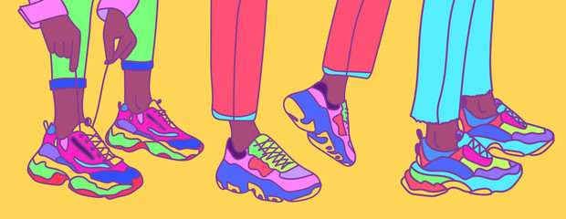 Set of female or male legs in the sneakers. Cool bright sport footwear. Hand drawn vector colored trendy fashion illustration.  Wall mural