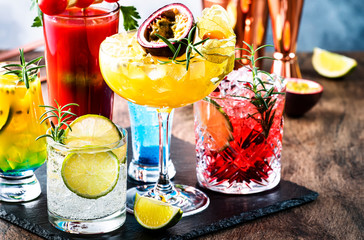 Set of summer alcoholic cocktails, popular bright refreshing alcohol drinks and beverages