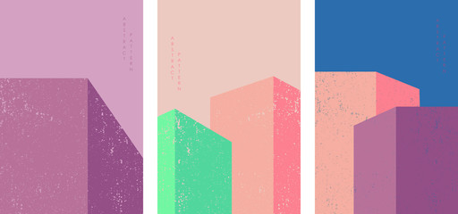 Vector architecture background poster design.  Building illustration with colorful square decoration.