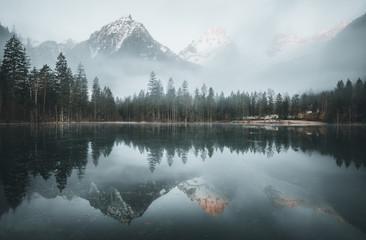 Morning fog over scenery lake at schiederweiher in upper austria Fotomurales